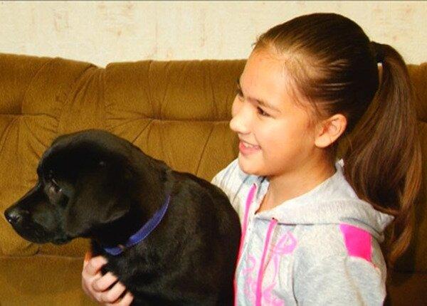 Школьница из Тюменской области получила щенка в подарок от Путина (ВИДЕО)